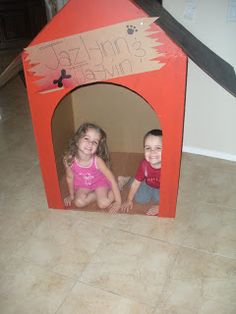 Puppy party: Cardboard dog house.