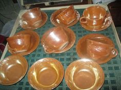 vintage FIRE KING` Laurel Leaf 15 pc` PEACH LUSTRE` HOCKING Glass DINNERWARE`