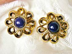 Vintage Dark Blue Cabochon Flower Design Clip On Earrings by dazzledbyvintage on Etsy