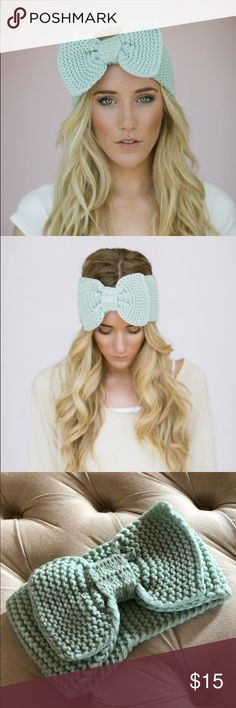 Mint green bow headband Cute bow headband in mint green. Look cute while staying warm!  Super soft and comfortable. Never worn but there's one small flaw (see pics). It can be tucked in so you don't see it at all. **excuse my lighting - this is true to the model images for color** very pretty pale mint green!  Smoke free, pet free home. Three Bird Nest Accessories Hats