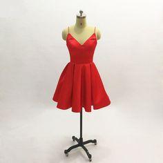 Little Red Satin Spaghetti Strap Short Cocktail Dress - Uniqistic.com