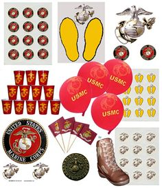 #USMC #military #veterans party supplies and ideas  yellow footprints streamers cups ideas - www.HireAVeteran.com