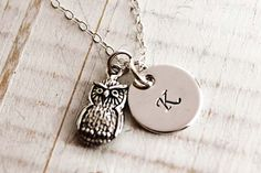 Sterling silver initial monogram necklace and owl by woobiebeans, $29.00