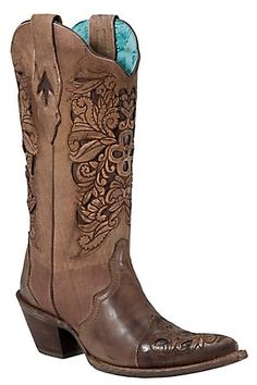 Elegant style cowboy/cowgirl boots should NEVER be out of style!  Corral Ladies Brown w/ Chocolate Inlayed Floral Tool Pointed Toe Western Boots. I am thinking this will be my next pair. First on my wish list.
