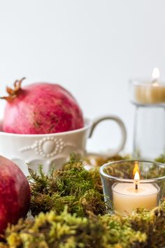 holiday, lifestyle, style, tablescape, table scape, centerpiece, decorating, entertaining, Thanksgiving, Christmas, tea, The Tea Squirrel, tea squirrel, tea blog, tea blogger, festive, dinner party, candles, tea lights, pomegranate, blooming teas, flowering teas, tea cup
