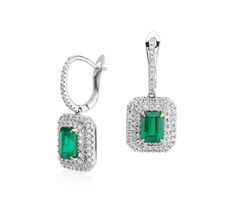 Emerald-Cut Emerald and Diamond Double Halo Drop Earrings in White Gold. http://www.jangmijewelry.com/