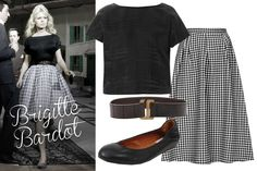 """When we think of Bardot, we think """"sex kitten""""—but the appeal of this icon was that she was coquettish, not downright raunchy. A tighter top balances a girly, full skirt (in on-trend gingham, no less), but be sure to finish the look off with flirty, full-volume, post-romp hair (and her signature cat-eye, bien sûr.)  Topshop Gingham Calf Midi Skirt, $96; us.topshop.com   Balenciaga Graphic Jacquard Silk Top, $695; matchesfashion.com  MM6 by Maison Martin Margiela Belt, $94; yoox.com   Lanvin…"""