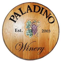 Personalized Reclaimed Wine Barrel Head with Winery and Grapes at Wine Enthusiast - $349.00