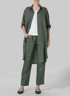 b864bbeb Olive Linen Three Quarter Sleeve Long Tunic Set Miss Me Outfits, Quarter  Sleeve, Casual