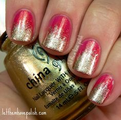 China Glaze Strawberry Fields Golden Gradient and a Sponging Tutorial