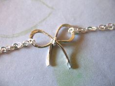 Silver BOW Necklace Tie the Knot Jewelry  by ModernandChic on Etsy, $21.00