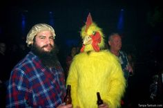 A chicken and a man in a shower cap. Help me out here! Am I missing the joke?