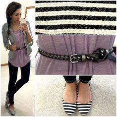Stripes, belts, & braids on repeat!💘 ||Top: @shopcatchbliss #catchblissboutique |Blazer: #hmusa |Jeans: #express #expressrunway |Belt: #f21 #forever21 #f21xme |Flats: #target #targetstyle || #hellogorgeous #hellogorgeousblog #ootd #workwear #casualfriday #igstyle