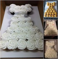 Super cut Bridal shower cupcakes in the shape of a wedding dress. Cupcakes make any party easier. High Heel Cupcakes, Cupcakes Cool, Ladybug Cupcakes, Kitty Cupcakes, Snowman Cupcakes, Giant Cupcakes, Wedding Dress Cupcakes, Bridal Shower Cupcakes, Shower Cakes