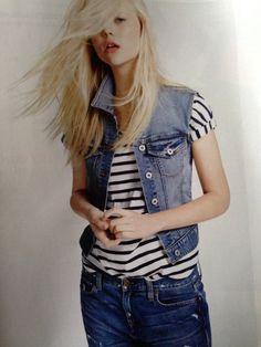 Stripes with denim jacket