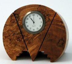 Art Deco style modern hand crafted burl wood desk clock by Howard Griffiths, USA