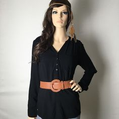 Black Casual Long Sleeve Top  Pre-owned in good condition. This top is so versatile, you can wear it plain or doll it up. I have a bundle discount and hundreds of lovely listings in all different sizes! My closet is full of tops, dresses, scarves, jackets, coats, sweaters, skirts, handbags, shoes and formal wear. I do not accept offers on items $10 or less, please make a bundle if you want a further discount.  I normally ship within a day. Let me know if you have any questions.  -Zahadi…