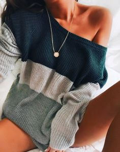 $31.99! Chicnico Causal One Shoulder Knitted Loose Sweater