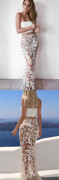 modest two piece white mermaid prom dresses, simple strapless sheer lace party dresses, sexy evening gowns with lace P2641