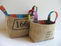 Burlap Bins, Repurposed Coffee Bean Bags, Lined with Guatemalan Striped Fabric, Eco Bins, Set of Two