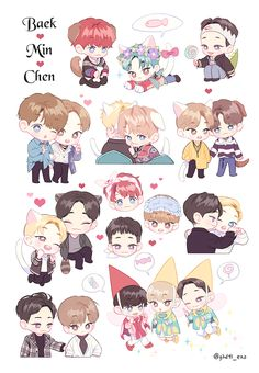 Imagen relacionada Exo Stickers, Printable Stickers, Cute Stickers, Exo Xiumin, Kpop Exo, Kawaii Chibi, Cute Chibi, Exo Cartoon, Exo Anime