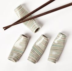Nerikomi Chopstick Rests -- handmade ceramics from Japan. I think these are gorgeous! $35.00