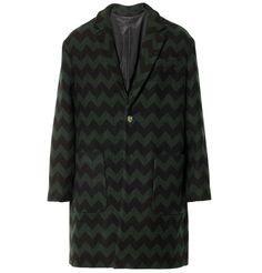 AMIChevron-Patterned Wool and Cashmere-Blend Coat|MR PORTER