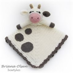 Ravelry: Baby Cow Lovey pattern by Briana Olsen. Crochet Cow, Crochet Baby Toys, Baby Afghan Crochet, Snuggle Blanket, Lovey Blanket, Baby Blankets, Knit Blankets, Baby Cows, Baby Lovey