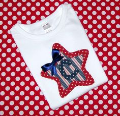 Patriotic Red White and Blue  Personalized  4th of July/Memorial Day Personalized  Shirt. $18.00, via Etsy.