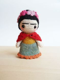 Frida Kahlo cute pocket amigurumi doll. by plushteam on Etsy