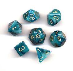 Chessex Dice: Polyhedral 7-Die Phantom Dice Set - Teal w/gold by Chessex, http://www.amazon.com/dp/B00115YMHU/ref=cm_sw_r_pi_dp_iq1drb1YQHWYF