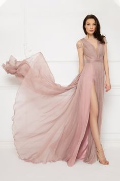 Cristallini - Embroidered Deep V-Neck Pleated A-Line Dress Evening Party Gowns, Evening Dresses, Formal Dresses, Long Dresses, Serenity, Dress Skirt, Dress Up, Light Pink Color, Pleated Bodice