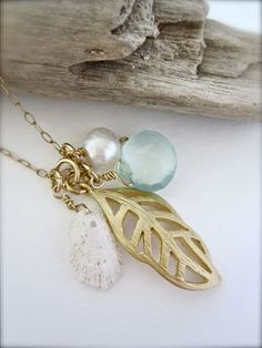 Beachy Shell gold necklace  made in Hawaii