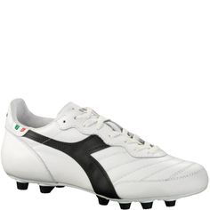 0caa2af86b5 Diadora Brasil Italy LT MD PU White Black Firm Ground Soccer Cleats - model  170854-C351