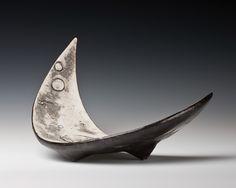 James Whiting - Platter, crescent-shaped, three legs #pottery #ceramics #platter