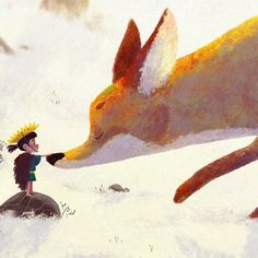 Prince of Sunflower scene 1  #boy #prince #sunflower #fox #snow #conceptart #illustration #characterdesign