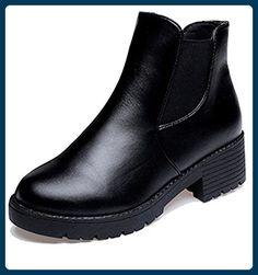 f526ef42cab937 Minetom Klassische Damen Stiefeletten Chelsea Boots London Style Schuhe  Thick heel ( Schwarz mit Baumwollfutter EU 37 ) - Stiefel für frauen  ( Partner-Link)