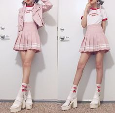 I got a hankering for that strawberry milk of my childhood from the convenience store so here's a themed outfit. 🍓🍼 (Also a subtle… Cute Casual Outfits, Pretty Outfits, Girl Outfits, Fashion Outfits, Kawaii Fashion, Cute Fashion, Look Fashion, Fashion Styles, Japanese Fashion