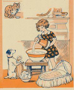 Doll's Bath ~ (1930s, vintage lady, child, illustration)