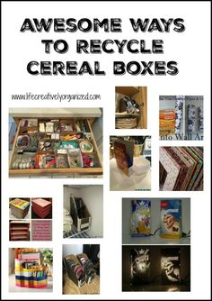 Awesome ways to recycle cereal boxes - including storage for kitchen, bedroom and office. Even wall art and as a lamp! Recycle Cardboard Box, Cardboard Box Crafts, Cardboard Playhouse, Cardboard Toys, Cardboard Furniture, Cardboard Box Storage, Cardboard Castle, Ways To Recycle, Reuse Recycle