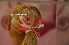 American Girl Dolls : One of the hairstyle's from the AG Salon by AGoverseasFan Ag Doll Hairstyles, American Girl Hairstyles, American Girl Crafts, American Girl Clothes, American Girls, Fix Doll Hair, Ag Hair Products, American Girl Accessories, Girl Dolls