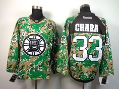 Boston Bruins 33 Zdeno CHARA 2013 Veterans Day Practice V-Neck Jersey - Digital Camo