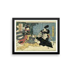 Shodan — Act one [of the Chūshingura].  Artist : Utagawa, Kuniyasu, 1794-1832. Date : Between 1815 and 1818.  Print shows a woman on the left, Kaoyo, wife of Enya (Asano Naganori), who has received a love letter from Moronō (Kira Yoshinaka), who is standing on the right, and, in the middle, Wakasanosuke about to draw his sword. #ukiyoe #art #japaneseprint #artwork