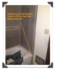 In this post we share how to install cement board in a bathtub surround. We also show how to cut circles in cement board for the faucet Peach Bathroom, Small Bathroom, Master Bathroom, Zen Bathroom, Modern Bathroom, Bathroom Renos, Bathroom Remodeling, Bathroom Ideas, Bathrooms