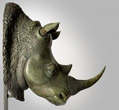 Bronze Endangered Animal Species sculpture by artist Florence JACQUESSON titled: 'Portrait de Rhinosaurus (bronze mounted head)' £9359 #sculpture #art