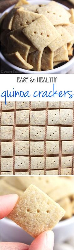 Easy Quinoa Crackers -- just 4 ingredients to make these crunchy crackers! SO much better, healthier & cheaper than store-bought!