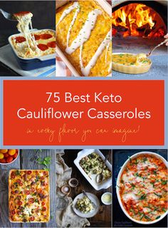 This collection of the 75 Best Keto Cauliflower Casseroles has something for everyone - along with some creative new low carb cauliflower casseroles you'll want to put into the rotation ASAP! Baked Cauliflower Casserole, Low Carb Cauliflower Casserole, Twice Baked Cauliflower, Cauliflower Recipes, Cauliflower Mash, Roasted Cauliflower, Ketogenic Recipes, Low Carb Recipes, Free Recipes