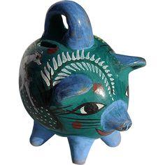 Vintage Mexican Tonala Pottery Piggy Bank