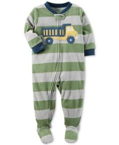 Carter's 1-Pc. Striped Truck Footed Fleece Pajamas, Baby Boys (0-24 months) - Green 24 months