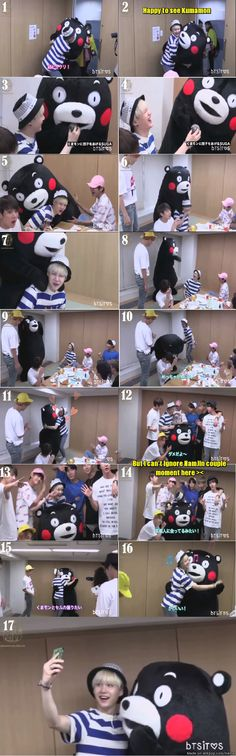 Only Kumamon can make Swag Suga turn to Softy Suga ^ ^ The most cute and Hyper Suga ever been seen!!!